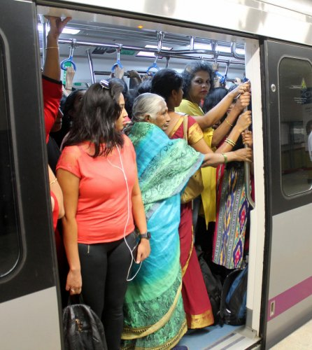 Increased ridership has created huge rush in the three-car metro trains. The wait for six-car trains continues.