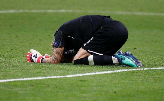 Liverpool goalkeeper Loris Karius looks devastated after the match.