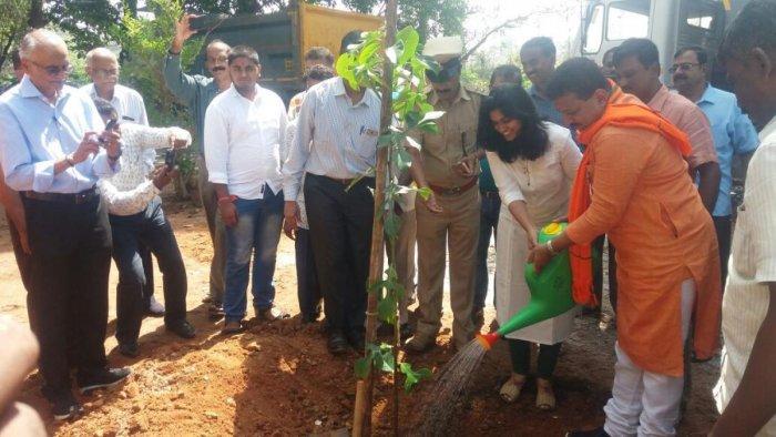 Yelahanka MLA, S R Vishwanath plants a sapling along the Puttenahalli lake on Sunday.