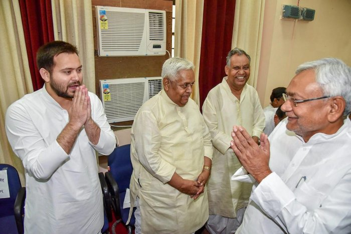 Tejashwi Yadav with Nitish Kumar. PTI/FILE
