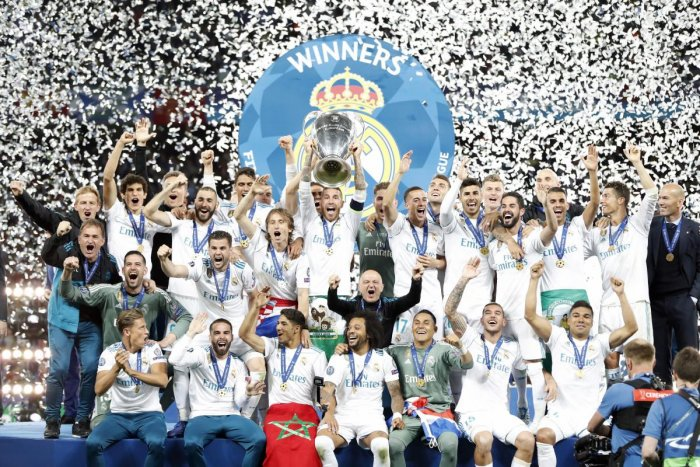 Real Madrid's Sergio Ramos lifts the trophy after winning the Champions League Final soccer match between Real Madrid and Liverpool at the Olimpiyskiy Stadium in Kiev, Ukraine. AP/PTI