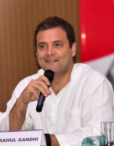 AICC president Rahul Gandhi at a special press conference in Lalit Ashok, Bengaluru recently. DH Photo/ B H Shivakumar