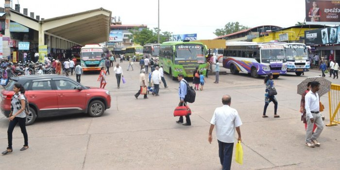 The buses operated normally at service bus stand in Udupi on Monday.