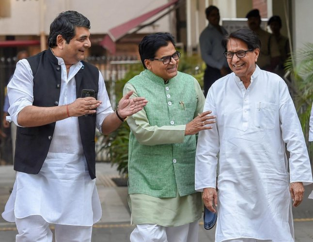 Congress leader RPN Singh (L), Samajwadi Party leader Ramgopal Yadav (C) and Rashtriya Lok Dal chief Ajit Singh come out after a meeting with the Election Commission over the reports of malfunctioning of the EVMs, at Nirvachan Sadan, in New Delhi on Monday. PTI