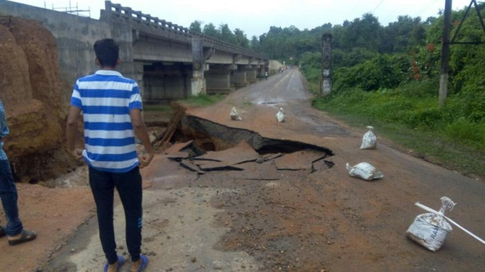 The connecting road to the Hosamata bridge on Uppinangady-Subrahmanya state highway partially collapsed on Monday morning.