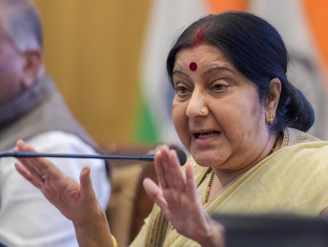 External Affairs Minister Sushma Swaraj speaks during the ministry's Annual Press Conference on completion of 4 years of the NDA government, in New Delhi on Monday, May 28, 2018. PTI Photo