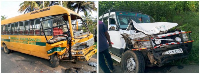 The SUV that rammed into the school bus in Kallahalli village near Anekal on Monday morning.