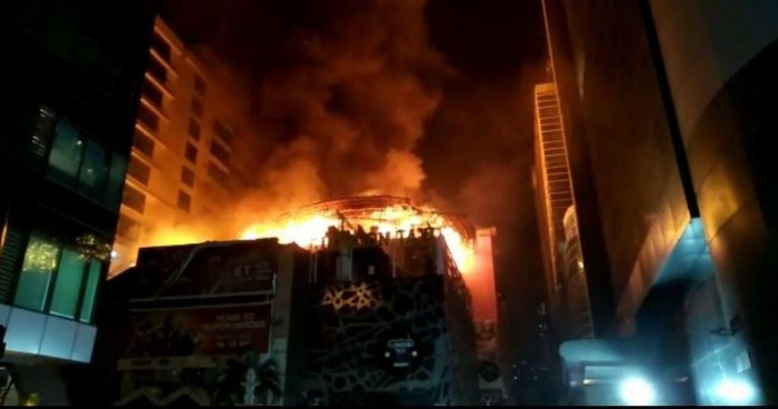 A view of the burning Mojo's Bistro restaurant where 14 people were killed, in Mumbai. PTI file photo