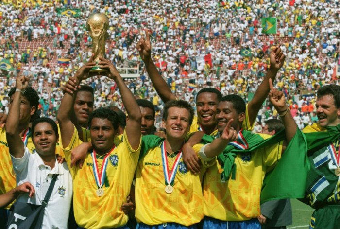 Brazil players with their trophy after triumphing at the 1994 World Cup.