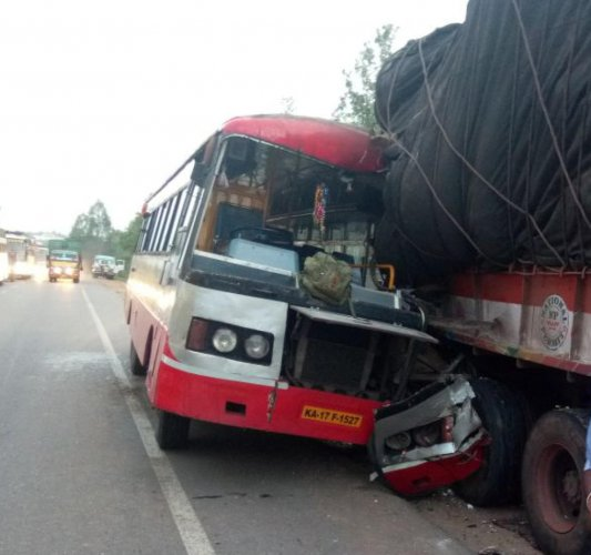 The mangled remains of the KSRTC bus that ploughed into a parked truck near Nelamangala on Tuesday, killing two people.