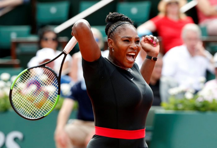 FIERCE: Serena Williams of the US returns during her win over Czech Republic's Krystina Pliskova in the first round of the French Open in Paris on Tuesday. REUTERS