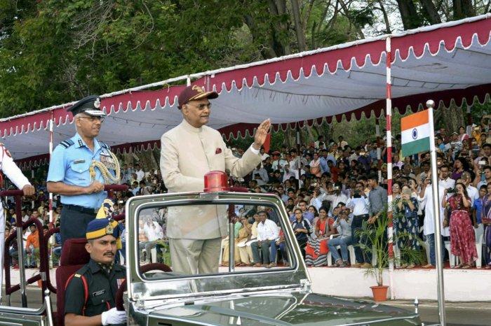 President Ram Nath Kovind reviews the 'Passing out Parade' of 34th Course of National Defence Academy (NDA) Khadakwasla in Pune, Maharashtra, Wednesday. (PTI Photo/RB)