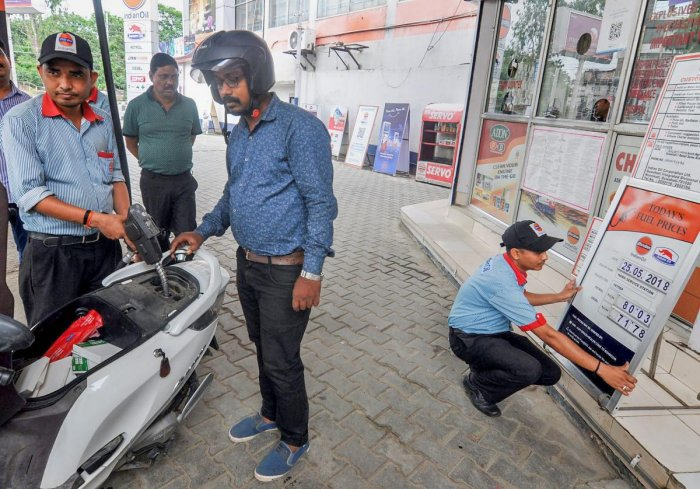 Petrol in Delhi now costs Rs 78.35 a litre, down from Rs 78.42, according to a price notification issued by state-owned oil firms. (PTI file photo)