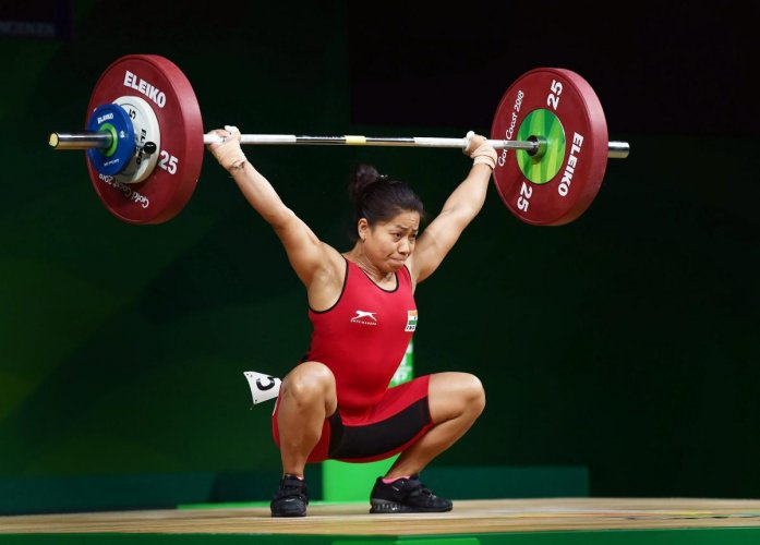 IN TROUBLE Weightlifter Sanjita Chanu during the Commonwealth Games in Gold Coast, in April. PTI FILE PHOTO