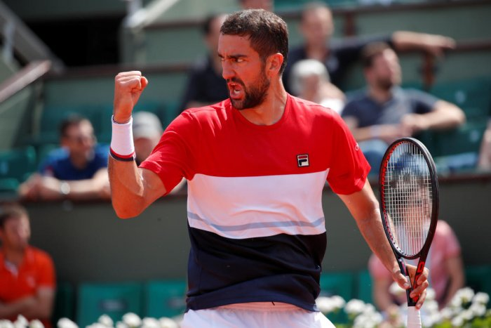 WARRIOR: Croatia's Marin Cilic reacts during his second round match against Poland's Hubert Hurkacz on Thursday. REUTERS
