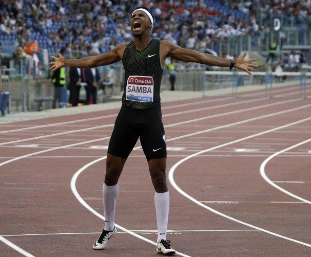 Qatar's Abderrahman Samba celebrates after winning the men's 400m hurdles during the Golden Gala in Rome on Thursday. He set an Asian record. AP/PTI