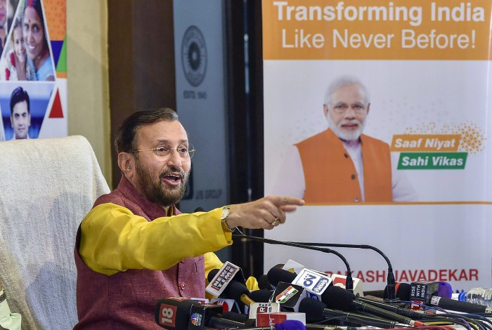 Union HRD Minister Prakash Javadekar addresses a press conference on the achievements of the BJP government in the last 4 years, in Kolkata on Saturday. PTI