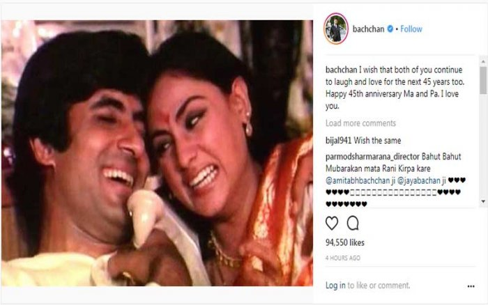 "Abhishek took to Instagram to wish them on the occasion, where he also shared a still from their 1973 hit film ""Abhimaan""."