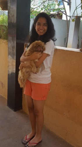 Nidhi with pet Pixie