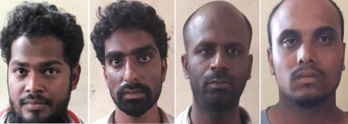 The suspects: Mohammed Waseem, Pradeep Sagar, Sunil Yuvaraj and Salman.