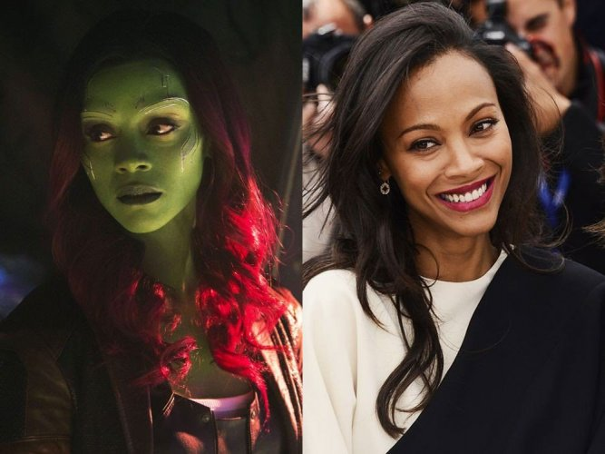 Gamora and Zoe Saldana. Image source Twitter.
