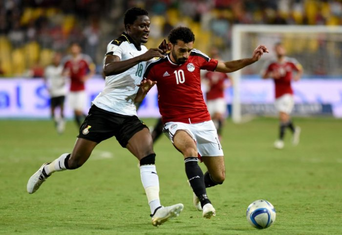Mohamed Salah (right) has been included in Egypt's World Cup 23-man squad on Monday. AFP
