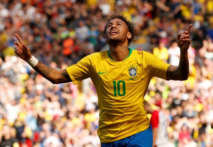 Brazil's Neymar celebrates scoring their first goal against Croatia on Sunday. REUTERS