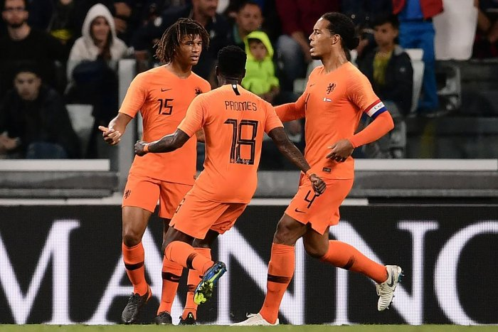 The Netherlands Nathan Ake (left) celebrates with team-mates after scoring against Italy during their international friendly match on Monday. AFP