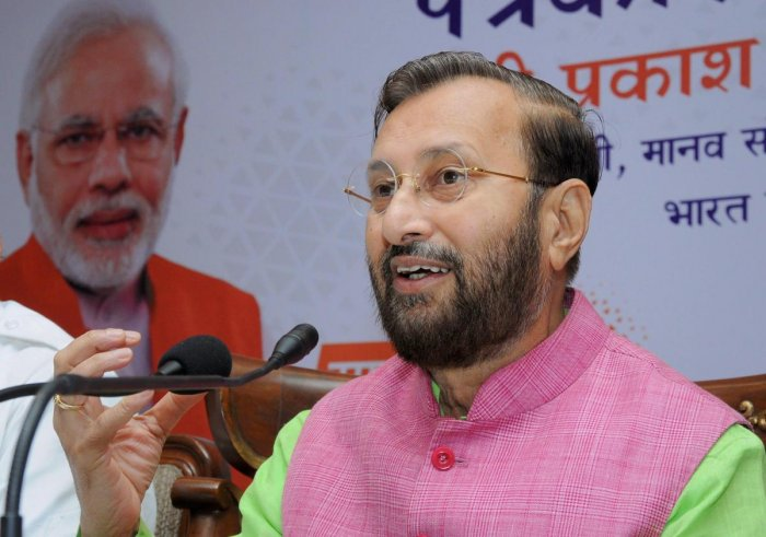 Union HRD Minister Prakash Javadekar addresses a press conference on completion of four years of BJP government at the centre, in Amritsar on Thursday, May 31, 2018. PTI