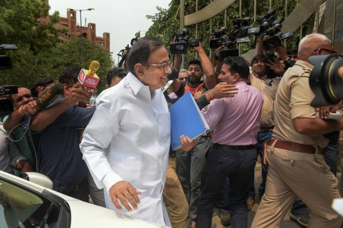 Former finance minister P Chidambaram arrives for questioning in the Aircel-Maxix case at CBI headquarters, in New Delhi on Wednesday. PTI
