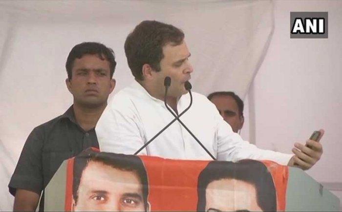 Congress President Rahul Gandhi at a rally in Mandsaur, Madhya Pradesh. ANI photo.