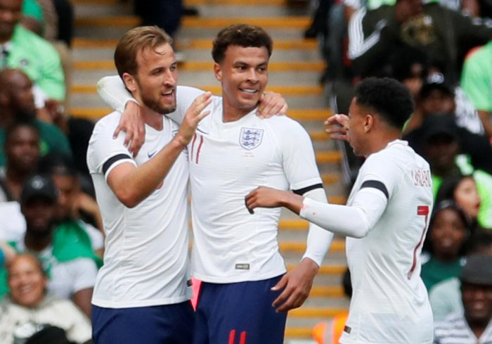 Harry Kane (left) will need strong support from the likes of Dele Alli (centre) and Jesse Lingard if England are to do well in Russia. Reuters