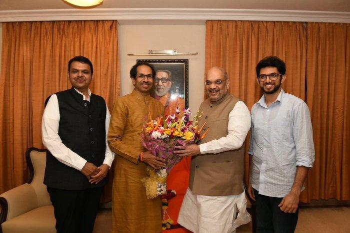 BJP president Amit Shah meets Shiv Sena chief Uddhav Thackeray in Mumbai on Wednesday. PTI
