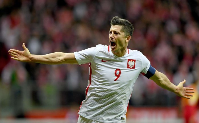 HERE I COME! Robert Lewandowski, the highest goalscorer for Poland, will be hoping to inspire his compatriots in the World Cup. AFP