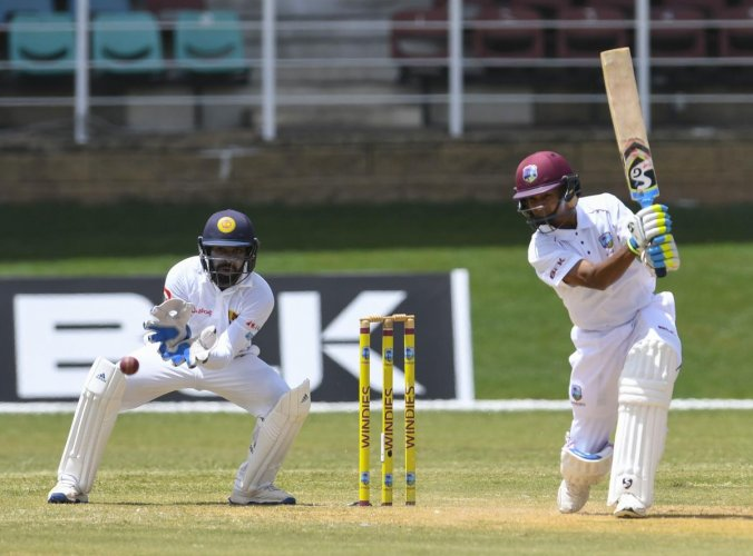 Shane Dowrich of the West Indies hits a boundary during the second day of the first Test against Sri Lanka on Thursday. AFP