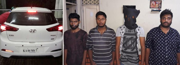 The police seized a car used by the suspects (right) for the crime.