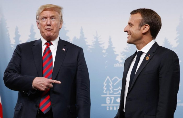 President Donald Trump meets with French President Emmanuel Macron during the G-7 summit Friday, June 8, 2018, in Charlevoix, Canada. (AP/PTI Photos)