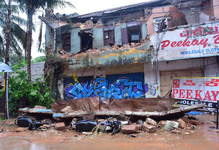 A building partially collapsed on Bhavanthi Street in Mangaluru on Saturday.