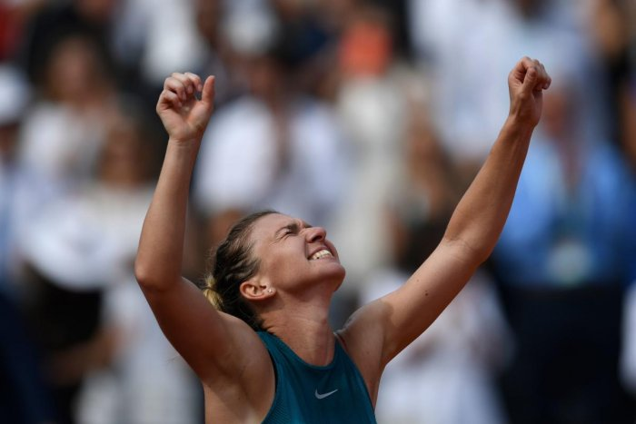 Romania's Simona Halep celebrates her win over Sloane Stephens in the final of the French Open on Saturday. AFP