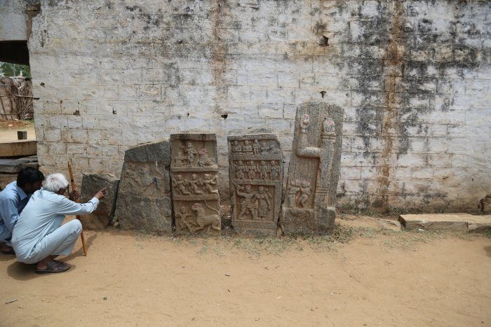 Memorial stones dedicated to individuals from all walks of life can be found at Amachavadi in Chamarajanagar district. PHOTO BY AUTHOR