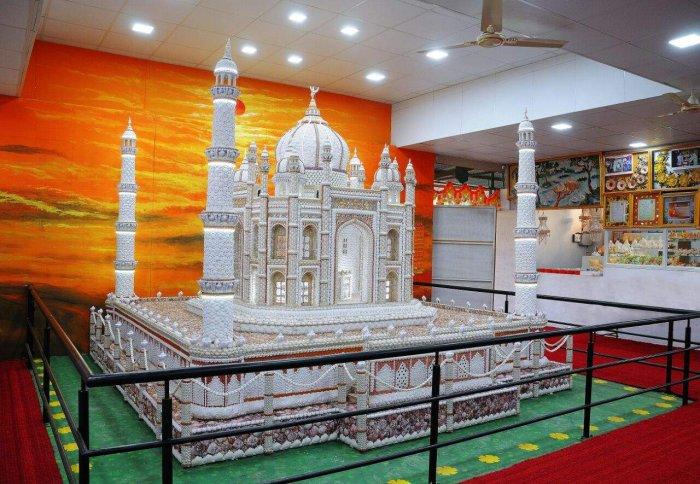 A seashell statue created by Radha Mallappa