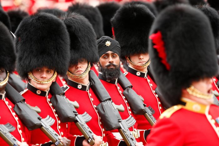 Guardsman Charanpreet Singh Lall, 22, will march among 1,000 soldiers taking part in Trooping the Colour ceremony which also marks the Queen's official birthday. Reuters Photo