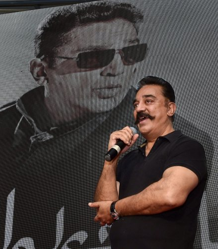 Actor Kamal Haasan speaks during the trailer launch of his much-awaited bilingual thriller movie Vishwaroopam 2 in Chennai on Monday. PTI
