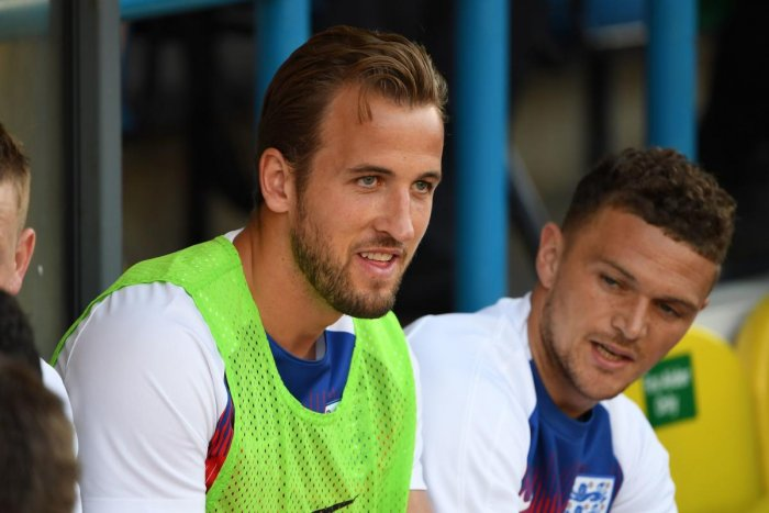 Harry Kane (left) at a training session.