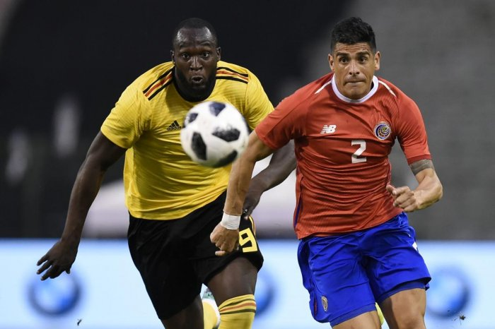 Belgian forward Romelu Lukaku (left) and Costa Rica's Johnny Acosta vie for possession during their friendly in Brussels on Monday. AFP