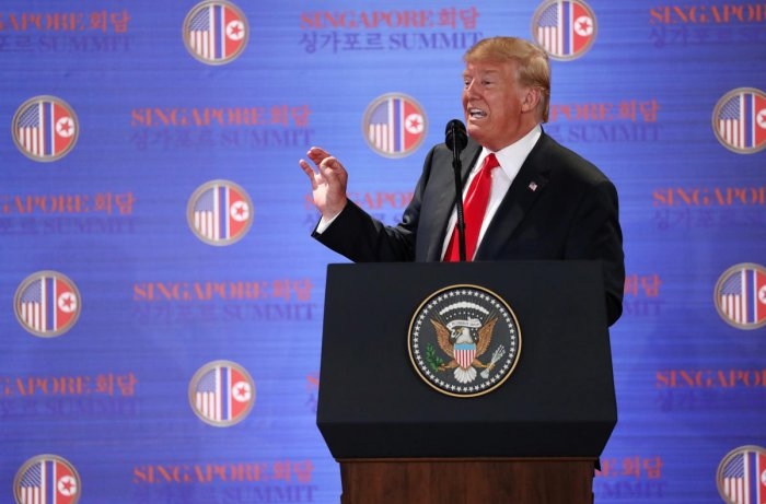 US President Donald Trump speaks during a news conference after his meeting with North Korean leader Kim Jong Un at the Capella Hotel on Sentosa island in Singapore. REUTERS Photo