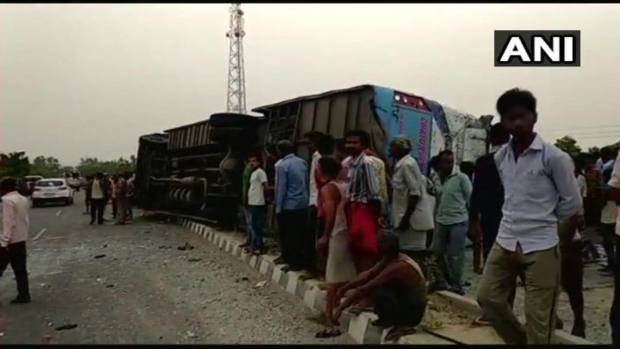 17 dead, more than 35 injured after a private bus hit a divider and overturned near Mainpuri in Uttar Pradesh. (ANI Photo)