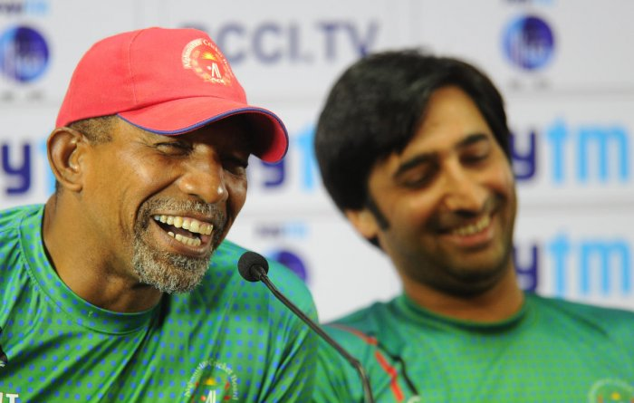 Afghanistan coach Phil Simmons (left) and captain Asghar Stanikzai were upbeat about facing India in their first ever Test match. DH PHOTO