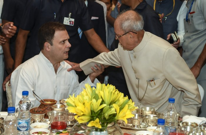 Former president Pranab Mukherjee during the Iftar party hosted by Congress president Rahul Gandhi, in New Delhi on Wednesday. PTI