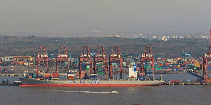 A view of the Jawaharlal Nehru Port Trust near Mumbai.